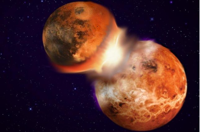 A rendering shows the collision of two young planets. Image by Hagai Perets/Nature