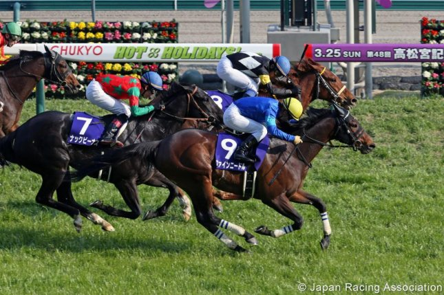 Fine Needle (No. 9), seen winning the Grade 1 Takamatsunomia Kinen in the spring, should be the heavy favorite for Sunday's Centaur Stakes at Hanshin -- a prep for the Sept. 30 Sprinters Stakes. (Japan Racing Association photo)