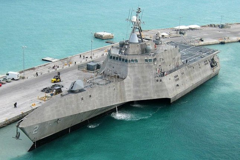 The U.S. Navy is set to christen its latest Independence-class littoral combat ship USS Tulsa. Pictured, USS Tulsa's sister ship, the USS Independence. U.S. Navy photo by Naval Air Crewman 2nd Class Nicholas Kontodiakos