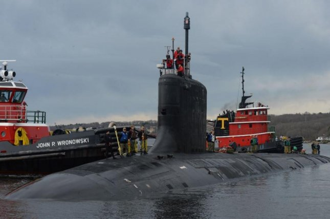 The Virginia-class submarine USS John Warner arrives at Electric Boat shipyards in Groton, Conn., on April 15, 2019. Photo by MCS1 Steven Hoskins/U.S. Navy