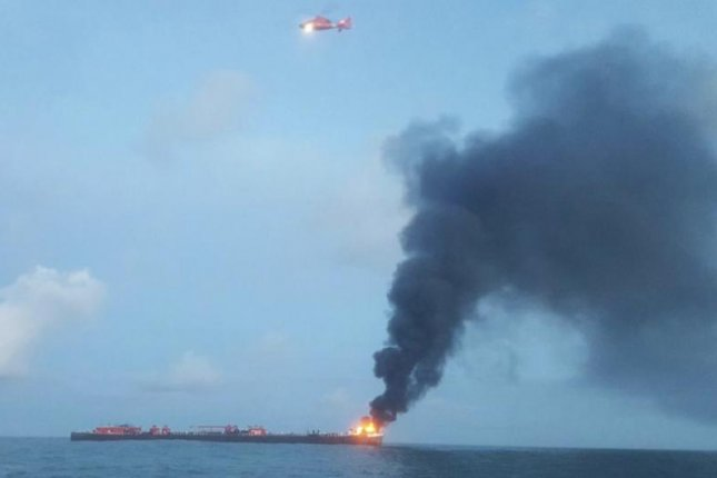A barge explosion Friday killed at least one person and left two others missing. Photo courtesy of the U.S. Coast Guard