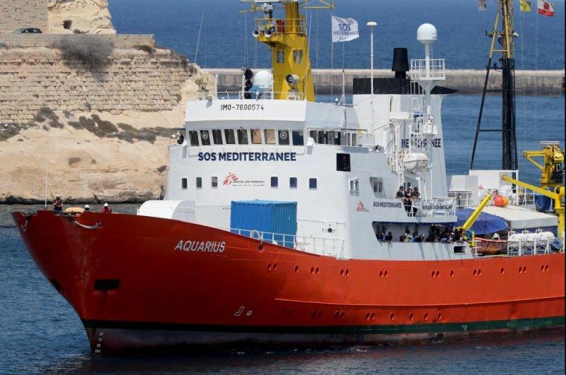 The rescue vessel MV Aquarius enters the Grand Harbour in Senglea, Valletta, Malta, on August 15. Photo by Domenic Aquilina/EPA-EFE