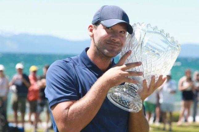 CBS Sports commentator and former NFL quarterback Tony Romo was 4-under-par entering the final round of the American Century Championship Sunday at Edgewood Tahoe Golf Course. Photo courtesy of Conrad Beudel/American Century Championship