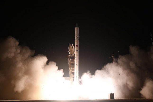 Monday's was the first launch of an Israeli satellite since the Amos-17 was sent into orbit from the United States last August. Photo courtesy Israel Ministry of Defense/Twitter