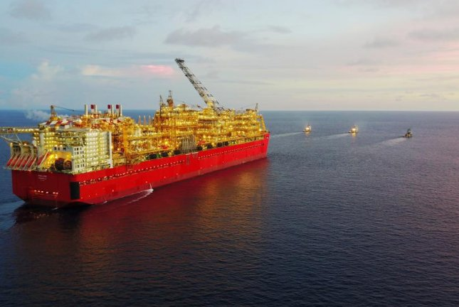 The largest facility of its kind ever built, Shell's floating Prelude liquefied natural gas facility arrives at its home off the coast of Western Australia. Photo courtesy of Shell Australia.