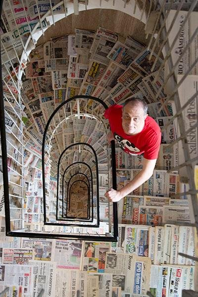 Sergio Bodini earned the Guinness World Record for largest collection of newspapers - different titles when he amassed a collection of 1,444 different papers. Photo courtesy of Guinness World Records