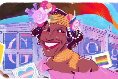 Google is paying homage to Marsha P. Johnson, one of the pioneers of the LGBTQ rights movement in the United States. Image courtesy of Google