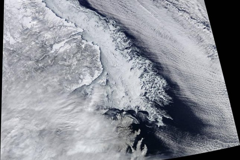 NASA's Terra satellite captured the image of the coast of Canada's Newfoundland and Labrador provinces on Feb. 18. Photo by NASA/Jeff Schmaltz, LANCE/EOSDIS Rapid Response/Mike Carlowicz