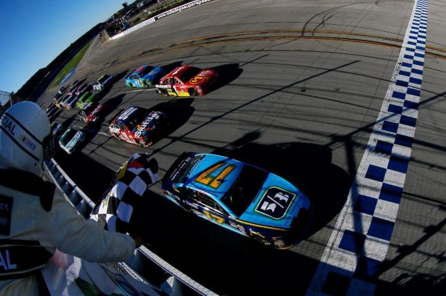 Ricky Stenhouse Jr. captures his first series checkered flag with the Geico 500. Photo courtesy NASCAR via Twitter
