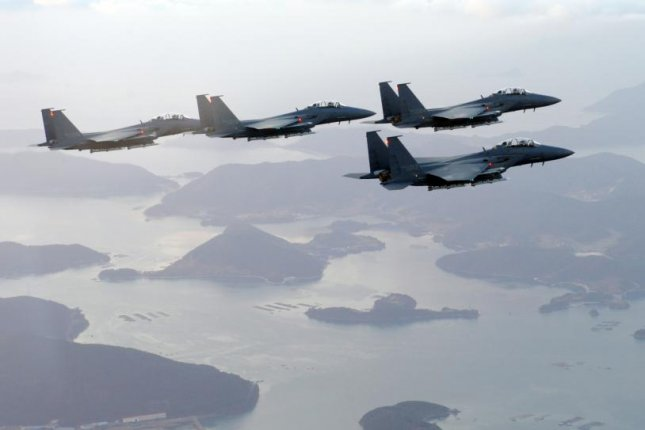 South Korea scrambled more than ten F-15K fighter jets on Wednesday. File Photo by Yonhap/EPA