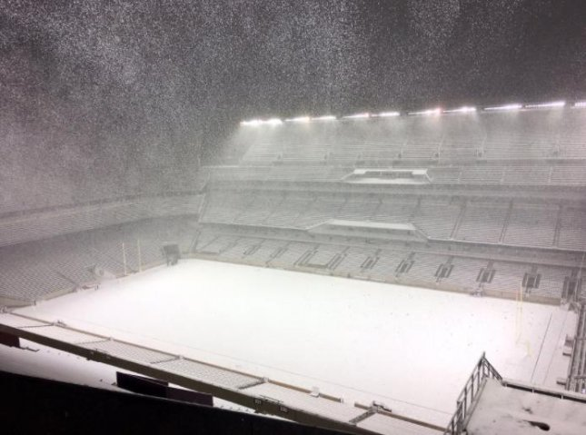 Snow blankets the football field at Texas A&M University on Thursday in College Station, Texas. Photo courtesy Texas A&M Football/Twitter