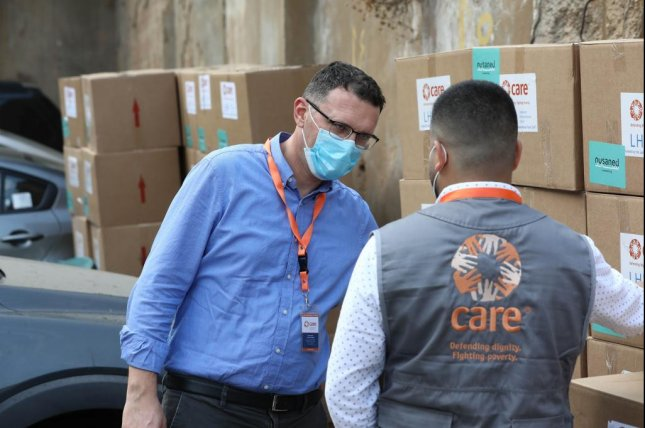 Bujar Hoxha (L), country director of CARE International in Lebanon, said he was inspired by how people came together to help each other in the wake of the Beirut port blast. Photo courtesy of Care International