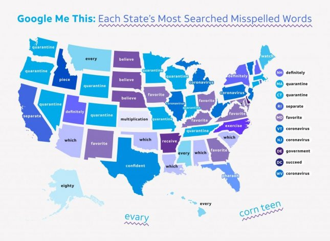 An analysis of Google Trends data by website AT&T Experts found the most common misspelled word in 12 states from March 2020 to March 2021 was quarantine. Photo courtesy of AT&T Experts