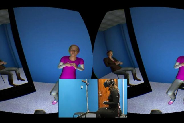 In a virtual reality environment, patients were asked to counsel a distressed child and then received counseling from an adult as if they were the distressed child. Nine of 15 patients in the small study reported their depression symptoms declined after the virtual reality treatment, researchers report. Photo by University College London