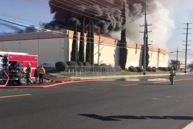A fire that destroyed the Apollo Masters factory in Banning, Calif., on Feb. 6 caused a break in the supply chain for vinyl records, industry sources said. Photo courtesy of Cal Fire Riverside