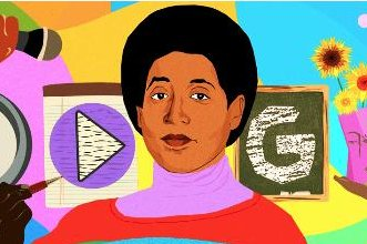 Google is paying homage to poet, feminist, professor and civil rights champion Audre Lorde with a new Doodle. Image courtesy of Doodle