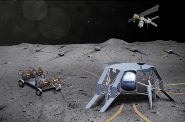 An illustration shows robotic equipment setting up the proposed FARSIDE astronomy observatory on the moon's surface by extending radio sensors over a large area. Image courtesy of the University of Colorado
