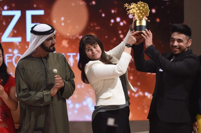 Canadian Maggie MacDonnell was awarded a $1 million international teaching prize on Sunday in Dubai. Photo by Varkey Foundation Global Teacher Prize