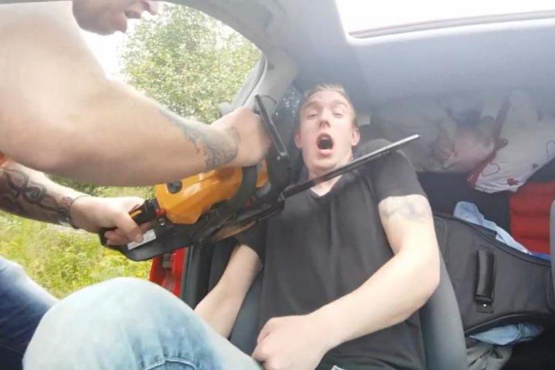Sleeping passenger awakened by chainsaw prank