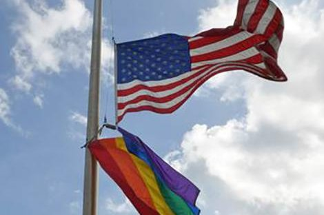 The U.S. Embassy in Kingston, Jamaica, not only lowered the U.S. flag to half staff but also raised a gay pride flag after a shooting at an Orlando, Fla., nightclub left 49 victims dead. Jamaican Attorney General Malahoo Forte took exception to the rainbow flag, saying it was disrespectful of the country's anti-gay sex law. Photo courtesy U.S. Embassy in Jamaica
