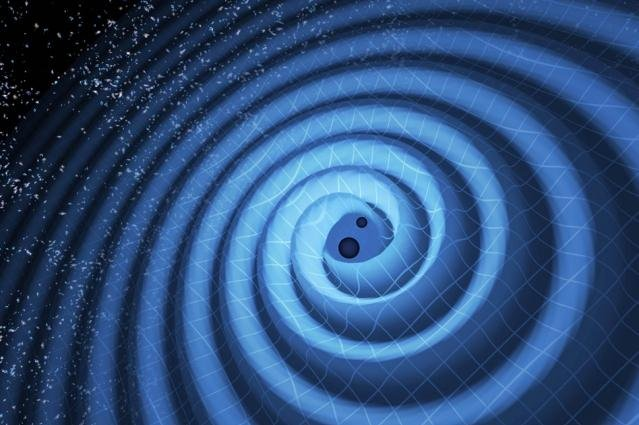 An illustration shows the collision of two black holes. Photo by T. Pyle/LIGO