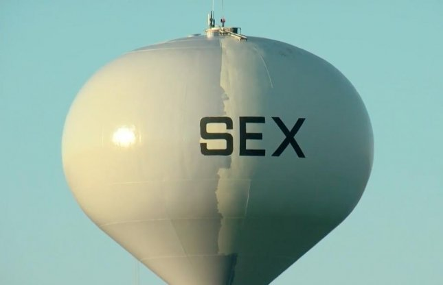 Workers left the word SEX written on a water tower in the Wisconsin village of Sussex after being forced to abandon their work due to a venting issue.  Screen capture/TODAY'S TMJ4/YouTube
