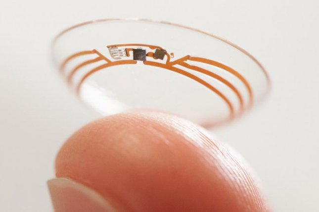 Google said the sensors on the smart contact lens are so small they look like bits of glitter. (Credit: Google)