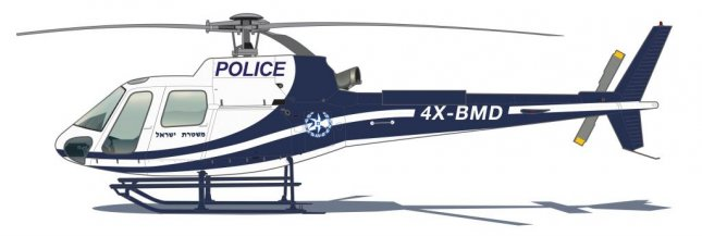 A rendering of the Airbus H125 helicopter being produced for the Israel Police. Image courtesy Airbus Helicopters