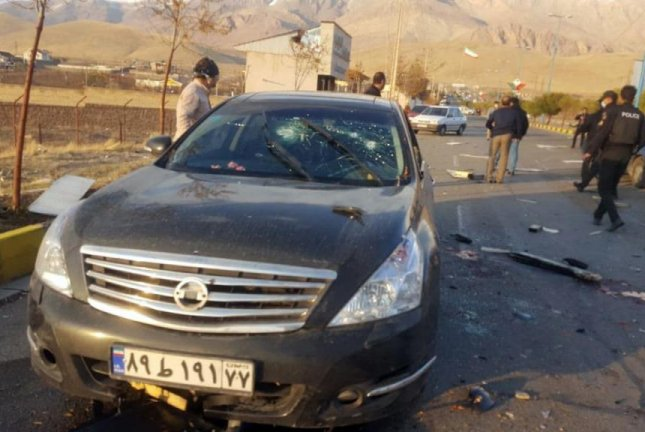 Image from the scene of a terror attack on top Iranian nuclear scientist Mohsen Fakhrizadeh in Damavand, Iran on Friday. Photo by IRIB/EPA-EFE