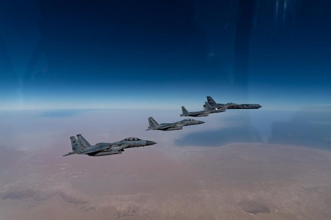 Air Force B-52H Stratofortress crews, flying withRoyal Saudi Arabian Air Force F-15SAs, completed a presence patrol in the Middle East on Wednesday. Photo via U.S. Air Forces Central/Twitter