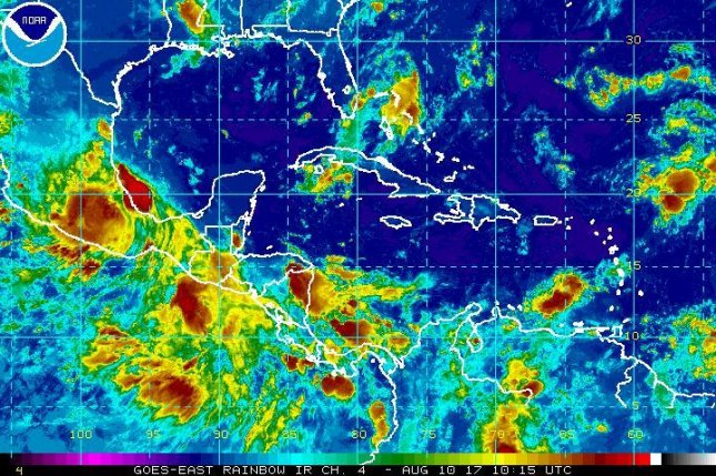 Hurricane Franklin weakened to a tropical storm Thursday as it moved further inland into eastern Mexico, forecasters said. Photo courtesy NHC/NOAA