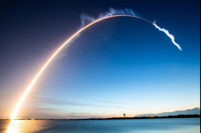 An Atlas V rocket arcs in the central Florida sky early Thursday after launch, carrying a communications satellite for the U.S. Air Force. Photo courtesy United Launch Alliance