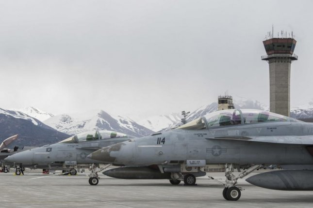 U.S. Navy F-18/F Super Hornet park on the flightline prior to Exercise Northern Edge on Friday at Joint Base Elmendorf-Richardson, Alaska. Photo by Airman 1st Class Caitlin Russell/U.S. Air Force