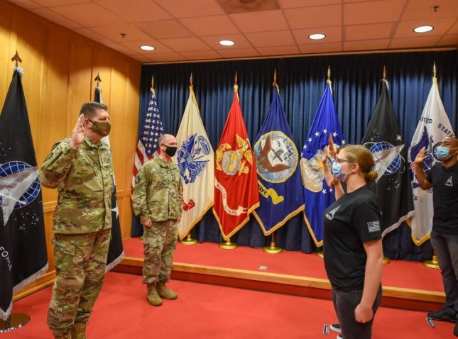 The first U.S. Space Force trainees to directly enlist in the new military branch were officially sworn-in Tuesday. Photo courtesy of Gen. Jay Raymond/Twitter