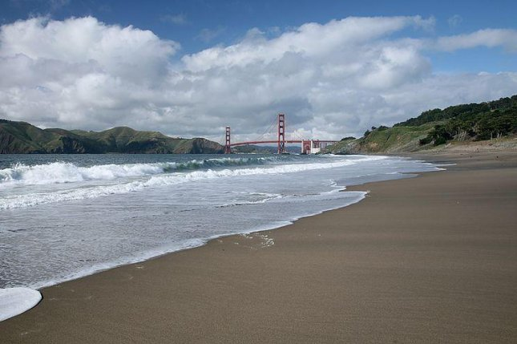 Baker beach, the planned site of the 2014 Nude Olympics in San Francisco. (CC/Daniel Schwen)