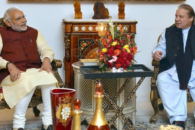Indian Prime Minister Narendra Modi, left, stopped in Pakistan to wish its prime minister, Nawaz Sharif, a happy birthday on his way home from meetings in Afghanistan. Photo courtesy Indian Press Information Bureau