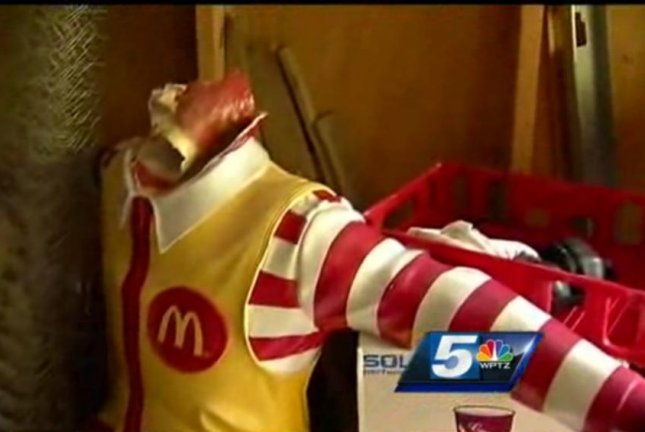 Vandals struck a Ronald McDonald statue in Burlington, Vt., on three separate occasions in the past month. WPTV-TV video screenshot