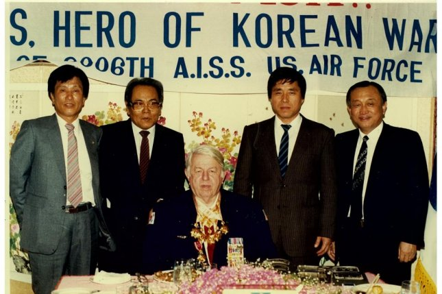 Maj. Donald Nichols visited South Korea in 1987, where he was honored as a hero of the Korean War. Nichols correctly identified 80 percent of North Korea bombing targets, earning him notoriety in Pyongyang. Photo courtesy of Lee Beom-gu