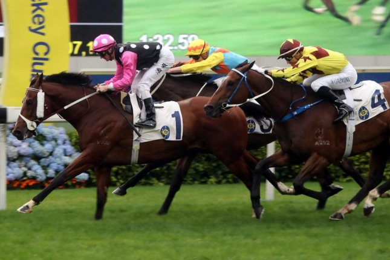 Beauty Generation wins Sunday's Chairman's Trophy at Sha Tin Racecourse in Hong Kong. Photo courtesy of Hong Kong Jockey Club