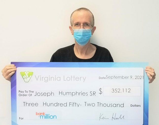Joseph Humphries of Virginia Beach bought multiple tickets for the same Bank a Million drawing and four tickets earned him various amounts for a total prize of$352,112. Photo courtesy of the Virginia Lottery
