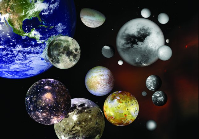 This photo illustration shows selected moons of our solar system at their correct relative sizes to each other and to Earth. Pictured are Earth's Moon; Jupiter's Callisto, Ganymede, Io and Europa; Saturn's Iapetus, Enceladus, Titan, Rhea, Mimas, Dione and Tethys; Neptune's Triton; Uranus' Miranda, Titania and Oberon and Pluto's Charon. Credit: NASA
