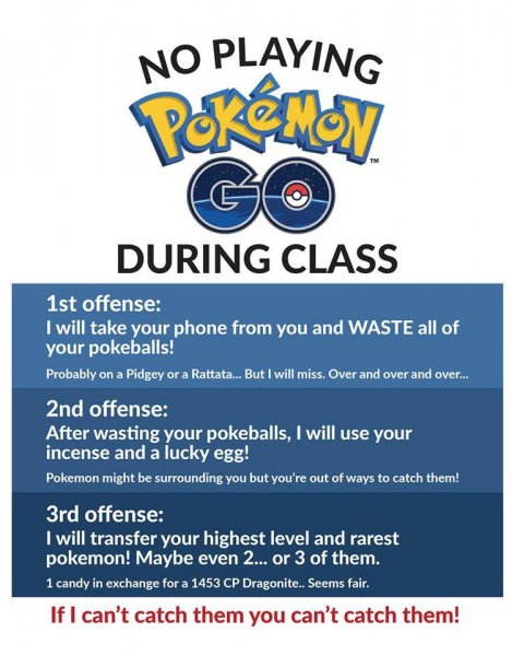 An Abilene, Texas, teacher created a poster threatening her students with consequences if they play Pokemon Go during class. Photo by Amelia Carnagey/Facebook