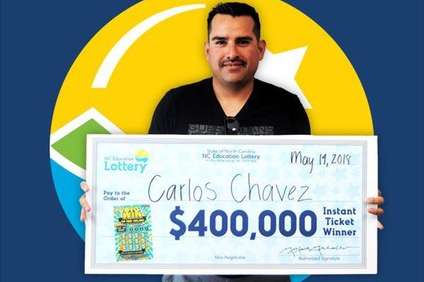 A North Carolina man won a $400,000 jackpot from the first lottery ticket he ever purchased. Photo courtesy of the North Carolina Education Lottery