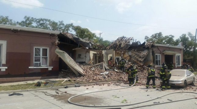 An explosion in Denver's Baker neighborhood leveled part of a residential building and injured nine people. Photo courtesy of the Denver Fire Department
