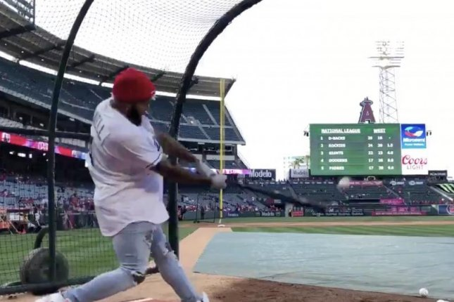 Odell Beckham Jr. hits a home run before the Los Angeles Angels and Tampa Bay Rays game Friday at Angel Stadium of Anaheim in Anaheim, Calif. Photo courtesy of the Tampa Bay Rays/Twitter.