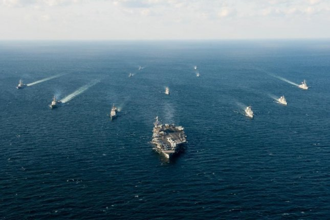 Ships assigned to the John C. Stennis Strike Group and ships assigned to the Republic of Korea Navy 1st Fleet Maritime Battle Group One steam together during Maritime Counter Special Operations Force (MCSOF) exercise, which is part of Foal Eagle 2016. On WednesdayHuntington Ingalls was awarded a $187.1 million contract for refueling and overhaul of the USS John Stennis.Photo by Andre T. Richard/U.S. Navy