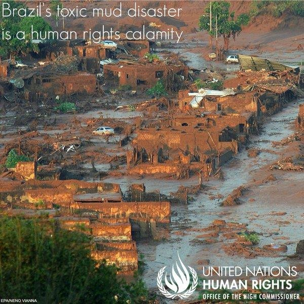 A mudslide from a burst dam covered the Rio Doce in Brazil and killed at least 12 people on November 5, 2015. A United nations report noted high amounts of toxic chemicals in the river after the incident. United Nations Human Rights/Twitter