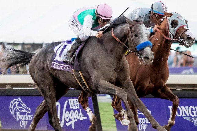 Arrogate, seen defeating California Chrome in the 2016 Breeders' Cup Classic, will defend his crown Nov. 4 at Del Mar. Photo courtesy of Breeders' Cup