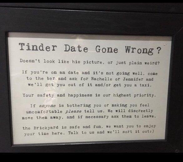A sign posted in the bathroom at The Brickyard pub in St. Albans, England. Photo by The Brickyard/Facebook