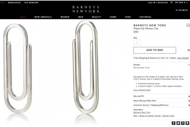 fe218b8bf0038c Look: Barneys selling $185 'Paperclip-Shaped Money Clip' by Prada ...